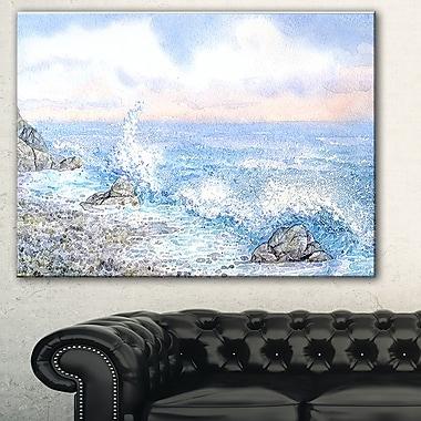 Aquarelle de l'eau bleue de la mer, art mural en métal, 28 x 12 (MT7636-28-12)