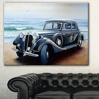 Tableau paysage d'une voiture classique sur un littoral, art mural en métal, 28 x 12 (MT7637-28-12)