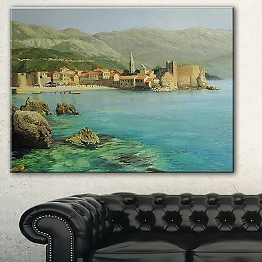 Bay Near Old Budva Landscape Painting Metal Wall Art, 28x12, (MT7638-28-12)