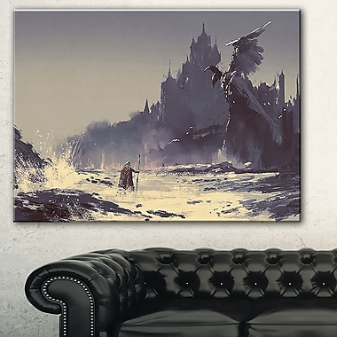 Dark Fantasy Castle Landscape Painting Metal Wall Art, 28x12, (MT7639-28-12)
