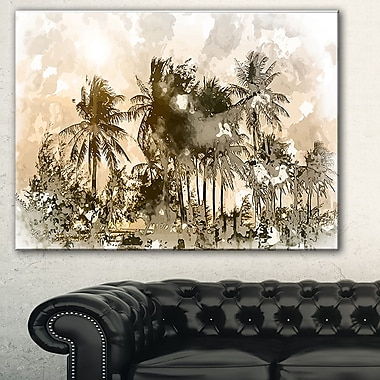 Dark Palms at Sunset Landscape Metal Wall Art, 28x12, (MT7640-28-12)