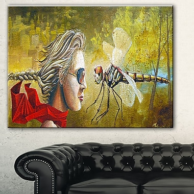 Human and Dragon Fly Abstract Metal Wall Art, 28x12, (MT7642-28-12)