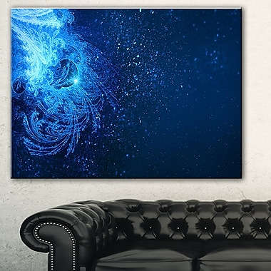 Blue Falling Snow Abstract Digital Metal Wall Art, 28x12, (MT7718-28-12)