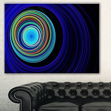 Endless Tunnel Blue Ripples Abstract Metal Wall Art, 28x12, (MT7725-28-12)