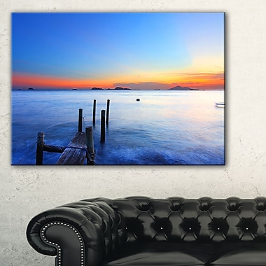 Summer Sea with Wooden Pier Seascape Metal Wall Art, 28x12, (MT8647-28-12)
