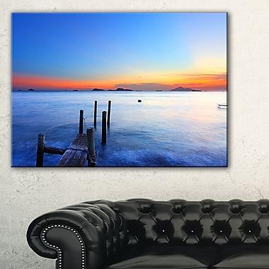 Art mural en métal, ponton en bois sur une mer d'été, 28 x 12 (MT8647-28-12)