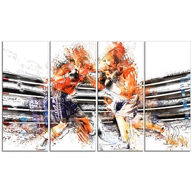 Boxing Round One Metal Wall Art, 48x28, 4 Panels, (MT2501-271)