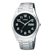 Lorus – Montre avec bracelet extensible plaqué palladium avec jour et date RXN13C, 38mm