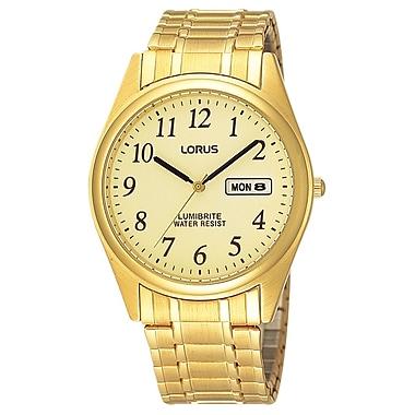Lorus – Montre avec bracelet extensible plaqué or avec jour et date RXN98A, 37 mm