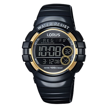 Lorus R2312K Digital Alarm Chronograph Black with Gold Accents, 42mm Watch