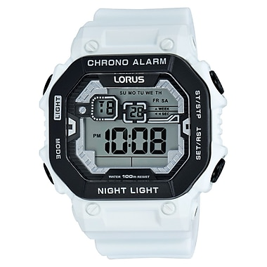Lorus R2397K Digital Alarm Chronograph White with Black Accents, 47mm Watch