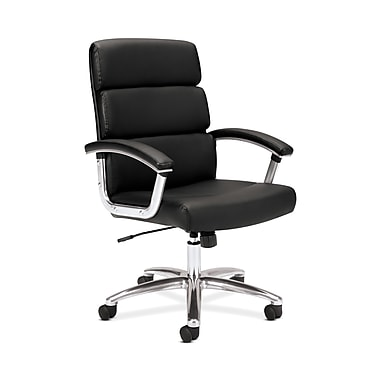 basyx by HON HVL103 Executive High-Back Chair, Center-Tilt, Fixed Arms, Polished Aluminum, Black SofThread Leather