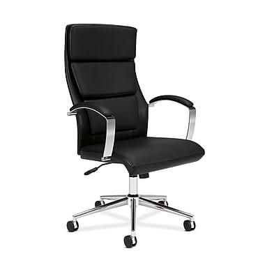 basyx by HON HVL105 Executive High-Back Chair, Center-Tilt, Polished Aluminum, Black SofThread Leather