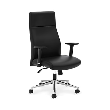 basyx byHON® VL108 Executive High-Back Chair, Adjustable Arms, Black SofThread™ Leather
