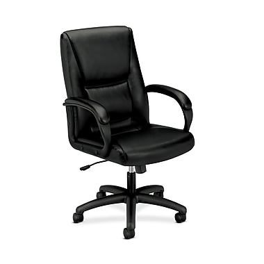 basyx by HON HVL161 High-Back Chair, Center-Tilt, Fixed Arms, Black SofThread Leather