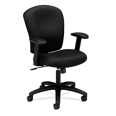 basyx by HON HVL220 Mid-Back Task Chair, Center-Tilt, Adjustable Arms, Black Fabric