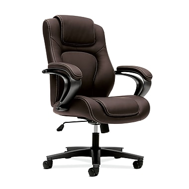 basyx by HON HVL402 Executive High-Back Chair, Center-Tilt, Fixed Arms, Brown Vinyl