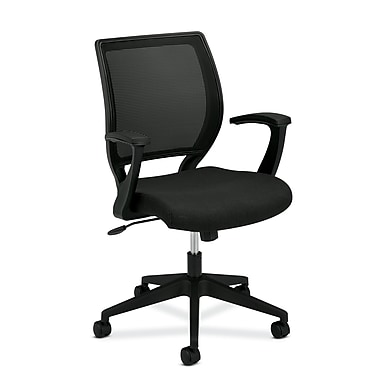 basyx by HON HVL521 Mesh Back Task Chair, Center-Tilt, Fixed Arms, Black Fabric