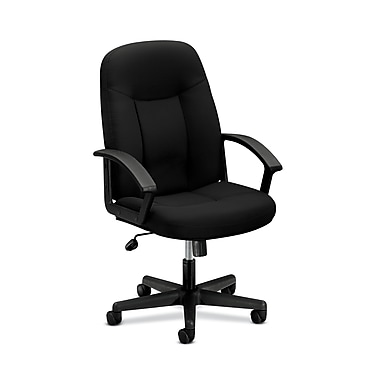 basyx by HON HVL601 Executive High-Back Chair ,Fixed Arms, Black Fabric