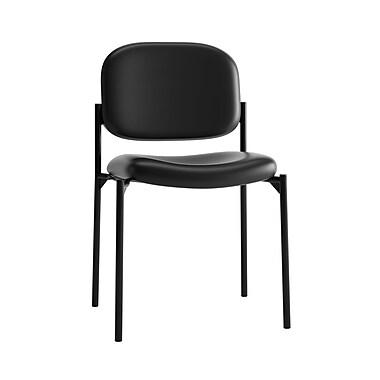 Basyx par HON – Chaise visiteur empilable HVL606, Cuir noir SofThread