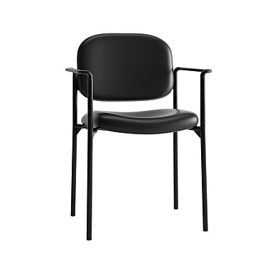 basyx by HON HVL616 Stacking Guest Chair, Fixed Arms, Black SofThread Leather