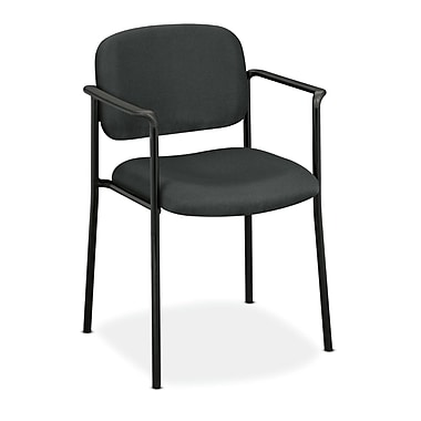 basyx by HON HVL616 Stacking Guest Chair, Fixed Arms, Charcoal Fabric