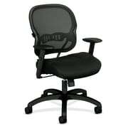 basyx by HON HVL712 Mesh Back Chair, Synchro-Tilt, Adjustable Arms, Black Mesh