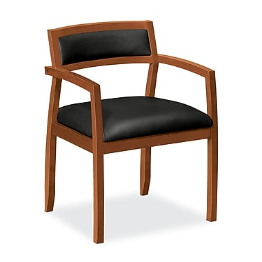basyx by HON HVL852 Guest Chair, Wood Frame, Bourbon Cherry Finish, Black SofThread Leather