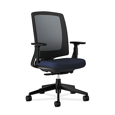 HON Lota Mesh Back Chair, Weight-Activated tilt, Adjustable Arms, Navy Fabric
