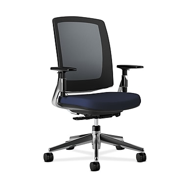 HON Lota Mesh Back Chair, Weight-Activated tilt, Adjustable Arms, Navy Fabric, Polished Aluminum base