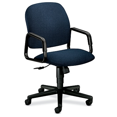 HON Solutions Seating High-Back Chair, Center-Tilt, Fixed Arms, Blue Olefin Fabric
