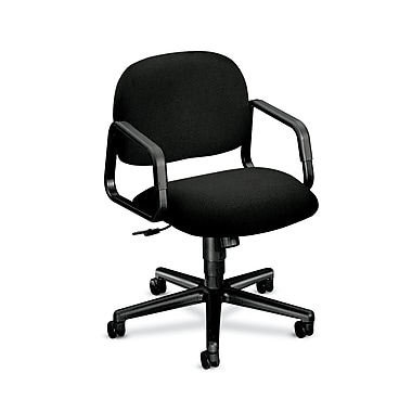 HON Solutions Seating Mid-Back Task Chair, Center-Tilt, Fixed Arms, Black Olefin Fabric