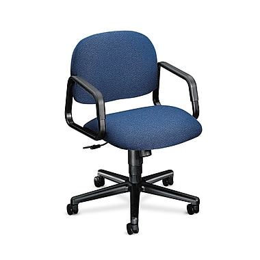 HON Solutions Seating Mid-Back Task Chair, Center-Tilt, Fixed Arms, Blue Olefin Fabric