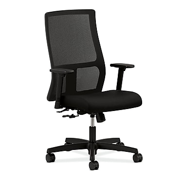 HON Ignition Mid-Back Mesh Task Chair with Adjustable Arms, Black Fabric