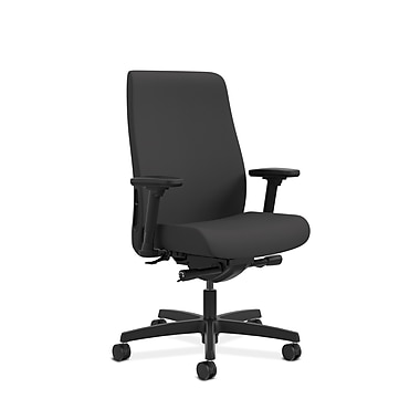HON® Endorse Mid-Back Task Chair, Built-In Lumbar, Adjustable Arms, Centurion Black Fabric