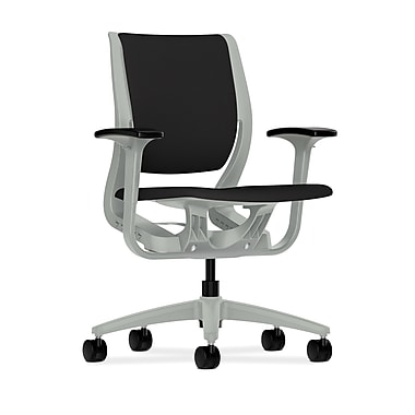 HON Purpose Mid-Back Chair, YouFit Flex Motion, Adjustable Arms, Platinum Shell, Platinum Base, Black Fabric