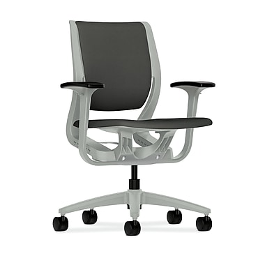 HON Purpose Mid-Back Chair, YouFit Flex Motion, Adjustable Arms, Platinum Shell, Platinum Base, Iron Ore Fabric