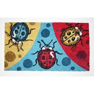 Premier Gift Coir Fiber Outdoor Mat, Lady Bug, Vinyl, 16