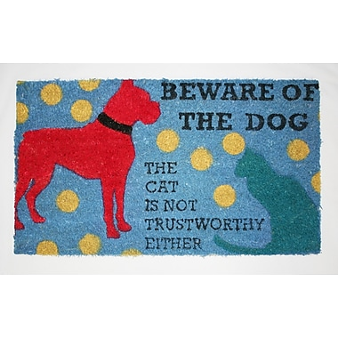 Premier Gift Coir Fiber Outdoor Mat, Beware of Dog, Vinyl, 16