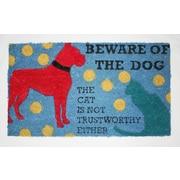 Tapis d'extérieur Premier Gift en fibre de coir, Beware of Dog, vinyle, 16 x 27 (po) (GA10813)