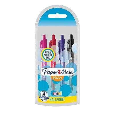 Paper Mate InkJoy Mini 100RT, Retractable Ballpoint Pen, Medium Point, Assorted, 4/pk