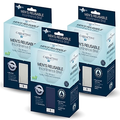 Care Active Men's Reusable Incontinence Brief 6oz Medium 3-Pack (6255-1B-AST)