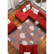 "ECARPETGALLERY 5'3"" x 7'7"" Portico SCR1 Rug, Ivory/Navy Blue/Red"