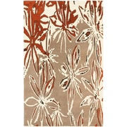 "ECARPETGALLERY 5'0"" x 8'0"" Abstract Art Rug, Cream/Dark Orange"