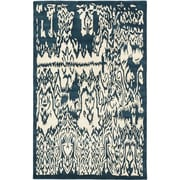 "ecarpetgallery 5'0"" x 8'0"" Abstract Art Rug, Cream/Turquoise"