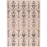 "ECARPETGALLERY 5'5"" x 7'9"" Ikat Glitter Rug, Black, Grey/Light Brown/Light Grey"