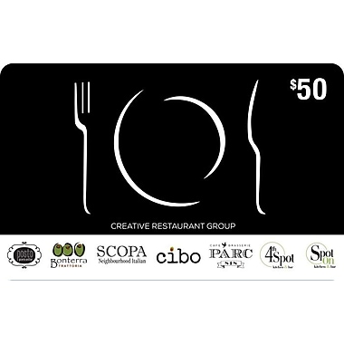 Creative Restaurant Group, carte-cadeau de 50 $