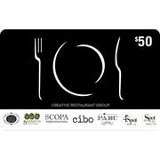 Creative Restaurant Group, carte-cadeau de 50 $