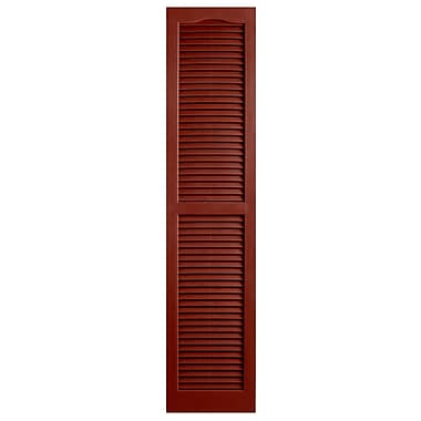 Alpha Shutters Exterior 14'' x 66'' Louvered Shutter (Set of 2); Red