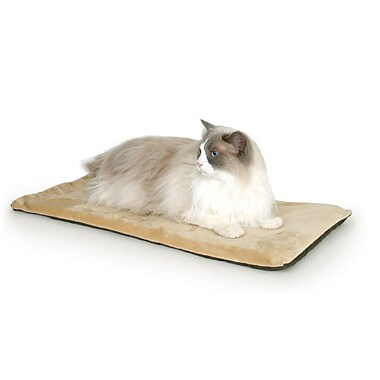 K&H Manufacturing Heated-Kitty Mat Cat Bed; Mocha